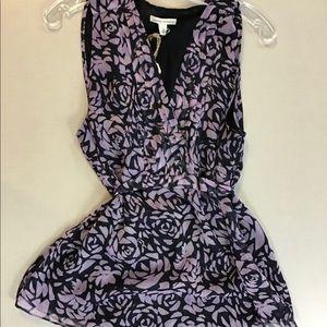 Purple floral blouse
